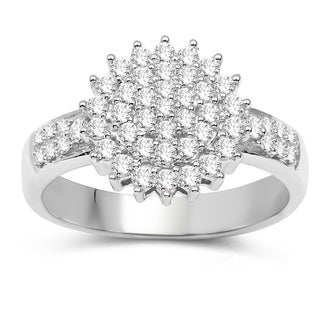 Olivia Leone 14K White Gold Genuine White Diamond Ring(0.58 cttw, G-H Color, SI1-SI2 Clarity)