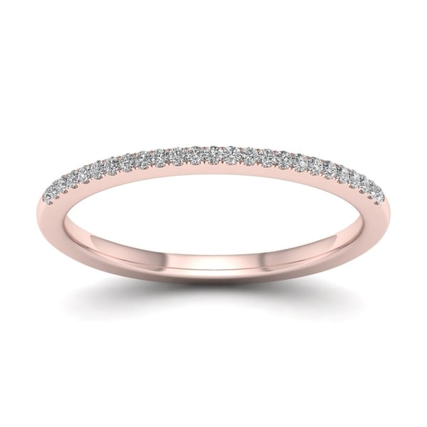 De Couer 10k Rose Gold 1/10ct TDW Wedding Band - Pink