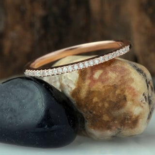De Couer 10k Rose Gold 1/10ct TDW Wedding Band