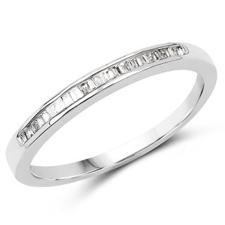 Olivia Leone 14K White Gold Genuine White Diamond Ring(0.13 cttw, G-H Color, SI1-SI2 Clarity)