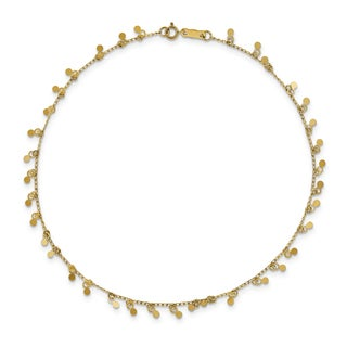 14k Yellow Gold High Polished Dangling Circles Anklet