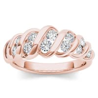 De Couer  IGI Certified 14k Rose Gold 3/4ct TDW Anniversary Band - Pink