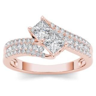De Couer 14k Rose Gold 1ct TDW Two-Stone Diamond Engagement Ring - Pink
