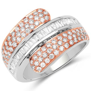 Olivia Leone 14K White & Rose Gold Genuine White Diamond Ring(0.99 cttw, G-H Color, SI1-SI2 Clarity)