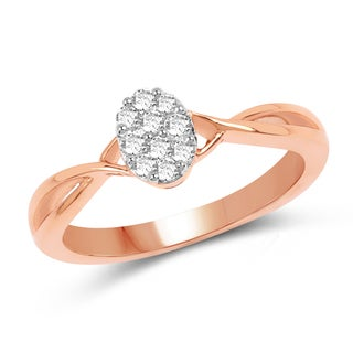 Olivia Leone 14K Rose Gold Genuine White Diamond Ring(0.21 cttw, G-H Color, SI1-SI2 Clarity)