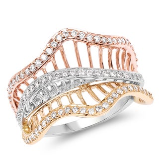 Olivia Leone 14K Yellow, White & Rose Gold Genuine White Diamond Ring(0.54 cttw, G-H Color, SI1-SI2 Clarity)