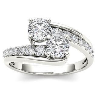 De Couer 14k White Gold 1ct TDW Two-Stone Diamond Engagement Ring - White H-I