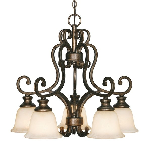 Golden Lighting #8063-D5 BUS Heartwood 5-light Nook Chandelier