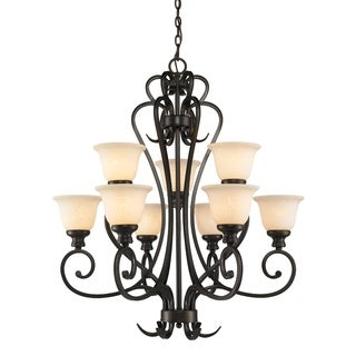 Golden Lighting's Heartwood Burnt Sienna Steel and Stone Glass 2-tier 9-light Chandelier