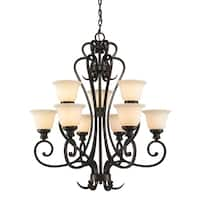 Golden Lighting's Heartwood Burnt Sienna Steel and Stone Glass 2-tier 9-light Chandelier