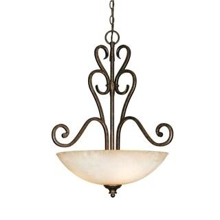Golden Lighting Heartwood Burnt Sienna Steel 3-light Pendant