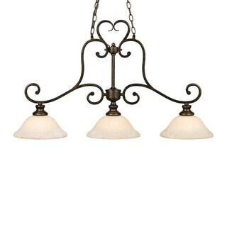 Golden Lighting Heartwood Burnt Sienna Finish Steel 3-light Linear Pendant
