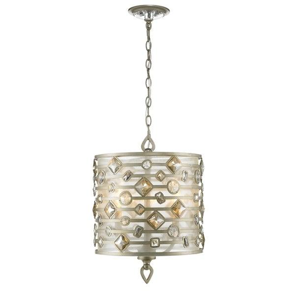 Golden Lighting Coronada White Gold-tone Finish Steel 3-light Pendant