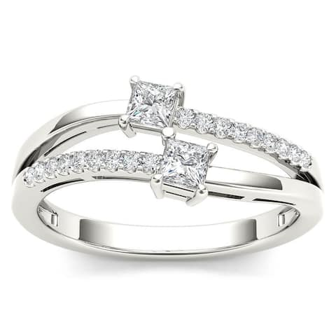 De Couer 14k White Gold 1/3ct TDW Two-Stone Diamond Engagement Ring - White H-I