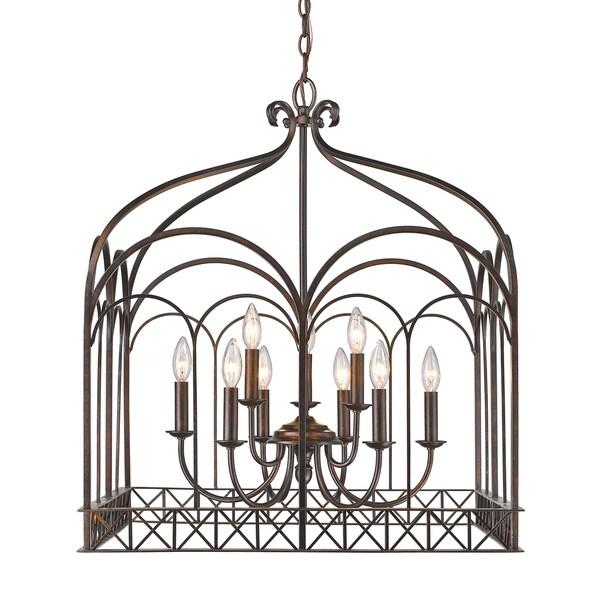 Golden Lighting Fired Bronze Steel 9-light Gateway Chandelier