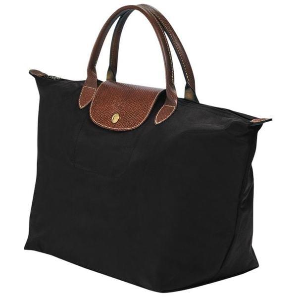 Shop Longchamp Le Pliage Medium Black Foldable Shoulder