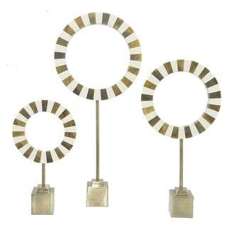 Three Hands Contemporary Resin and Aluminum Ring Decor (Set Of Three)