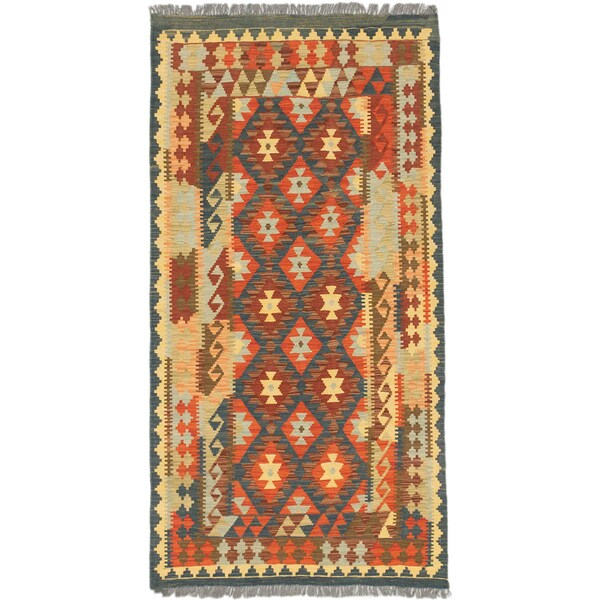 ecarpetgallery Hand-Woven Sivas Brown Green Wool Kilim (3'6 x 6'8)