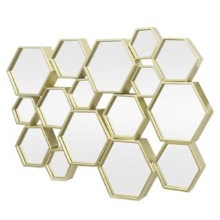 Three Hands Hexagon Cluster Gold-tone Metal Decorative Wall Mirror