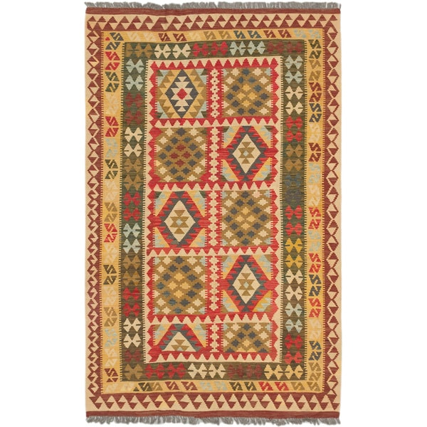 ecarpetgallery Hand-Woven Sivas Blue Red Wool Kilim (5'2 x 8'5)