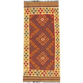 ecarpetgallery Hand-Woven Hereke Kilim Blue Red Wool Kilim (3'1 x 6'7)
