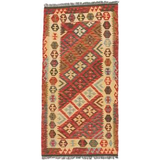 ecarpetgallery Hand-Woven Sivas Blue Red Wool Kilim (3'3 x 6'7)