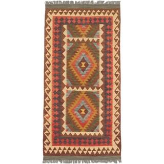 ecarpetgallery Hand-Woven Sivas Blue Brown Wool Kilim (3'2 x 6'6)