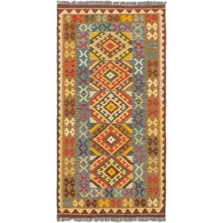 ecarpetgallery Hand-Woven Anatolian Kilim Blue Brown Wool Kilim (3'6 x 6'10)