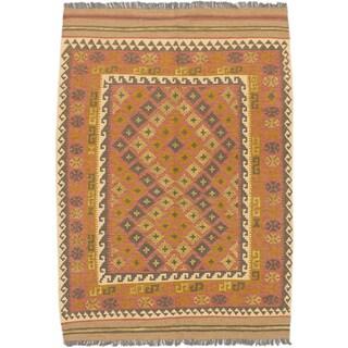 ecarpetgallery Hand-Woven Kashkoli Kilim Brown Orange Wool Kilim (4'10 x 6'11)