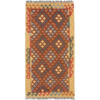 ecarpetgallery Hand-Woven Kashkoli Kilim Brown Red Wool Kilim (3'3 x 6'3)