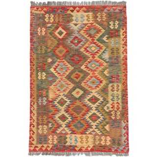 ecarpetgallery Hand-Woven Sivas Green Red Wool Kilim (3'2 x 4'7)