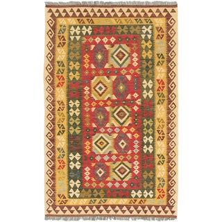 ecarpetgallery Hand-Woven Hereke Kilim Green Red Wool Kilim (4'2 x 6'10)