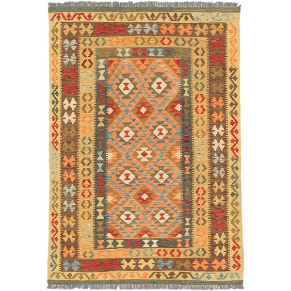 ecarpetgallery Hand-Woven Anatolian Kilim Brown Yellow Wool Kilim (4'9 x 6'10)