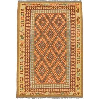ecarpetgallery Hand-Woven Kashkoli Kilim Brown Yellow Wool Kilim (5'7 x 8'0)