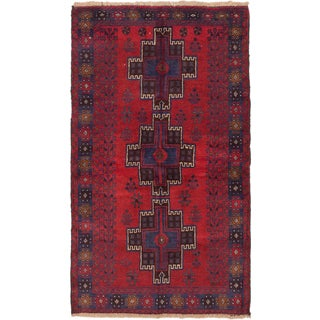 ecarpetgallery Hand-Knotted Kazak Red Wool Rug (3'7 x 6'3)