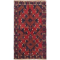 ecarpetgallery Hand-Knotted Kazak Blue Red Wool Rug (3'3 x 6'0)