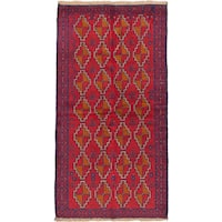ecarpetgallery Hand-Knotted Bahor Red Wool Rug (3'5 x 6'6)