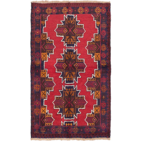 ecarpetgallery Hand-Knotted Kazak Red Wool Rug (3'7 x 5'10)
