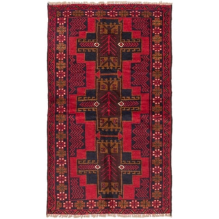 ecarpetgallery Hand-Knotted Kazak Red Black Wool Rug (3'6 x 5'11)