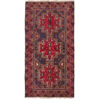 ecarpetgallery Hand-Knotted Kazak Blue Red Wool Rug (3'4 x 6'3)