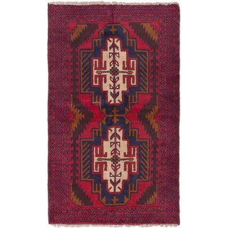 ecarpetgallery Hand-Knotted Kazak Blue Red Wool Rug (3'8 x 6'2)
