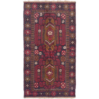 ecarpetgallery Hand-Knotted Kazak Brown Red Wool Rug (3'4 x 6'0)