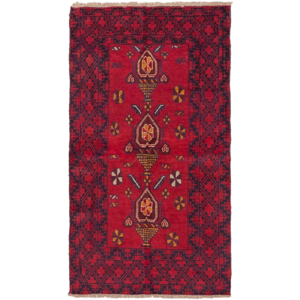 ecarpetgallery Hand-Knotted Baluch Red Wool Rug (3'7 x 6'6)