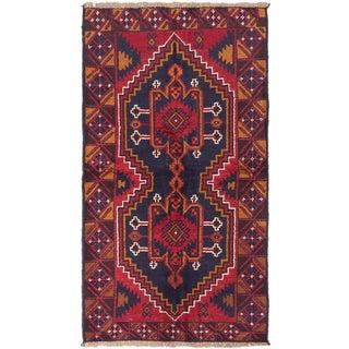ecarpetgallery Hand-Knotted Kazak Blue Red Wool Rug (3'4 x 6'0)