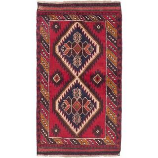 ecarpetgallery Hand-Knotted Kazak Red Cream Wool Rug (3'5 x 6'0)