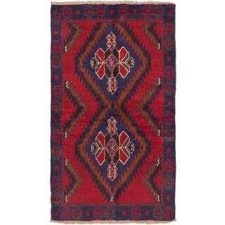 ecarpetgallery Hand-Knotted Kazak Blue Red Wool Rug (3'5 x 6'0)