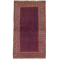 ecarpetgallery Hand-Knotted Herati Blue Red Wool Rug (3'7 x 6'1)
