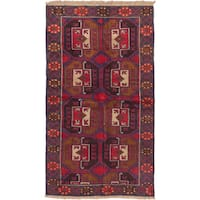 ecarpetgallery Hand-Knotted Baluch Brown Red Wool Rug (3'5 x 6'1)