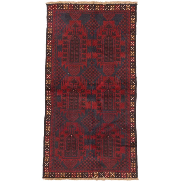 ecarpetgallery Hand-Knotted Bahor Blue Red Wool Rug (3'4 x 6'3)