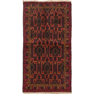 ecarpetgallery Hand-Knotted Bahor Brown Red Wool Rug (3'6 x 6'3)